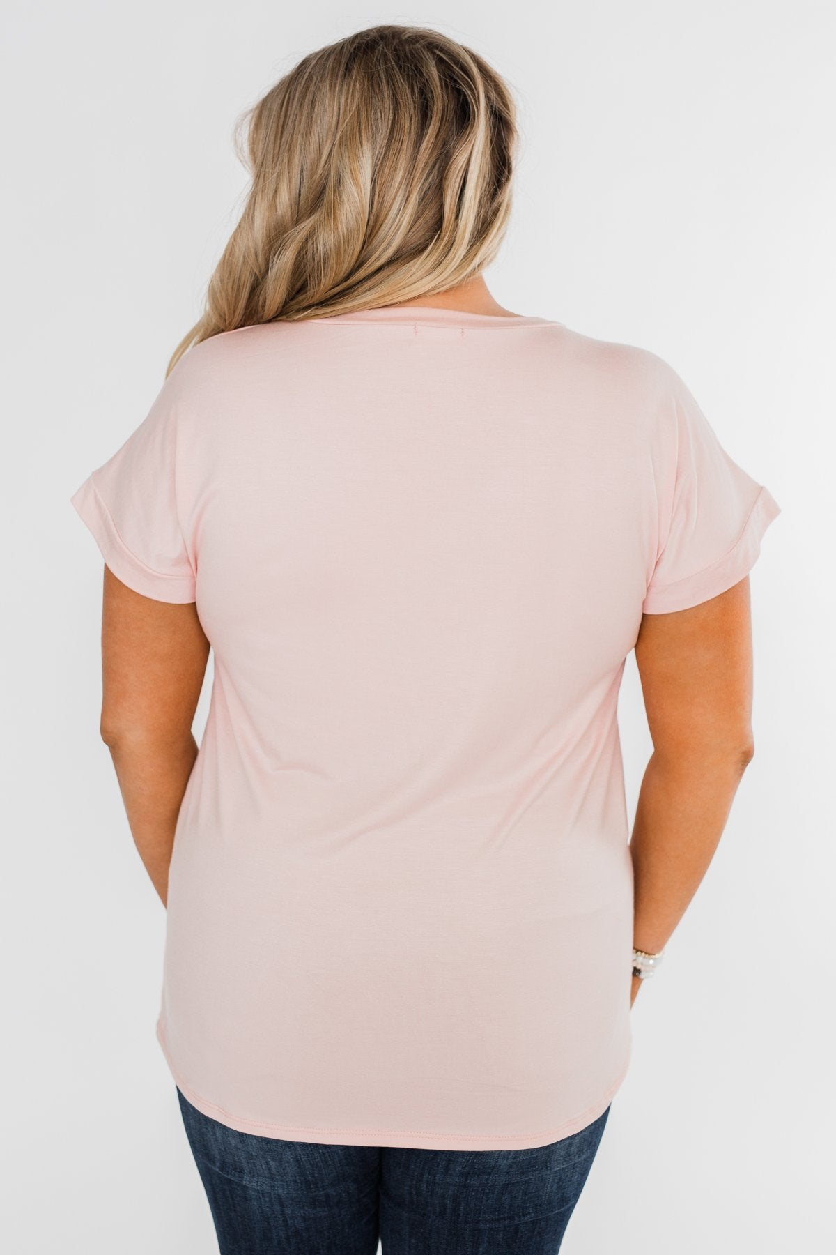 Attracted To You Sequin Pocket Top- Blush