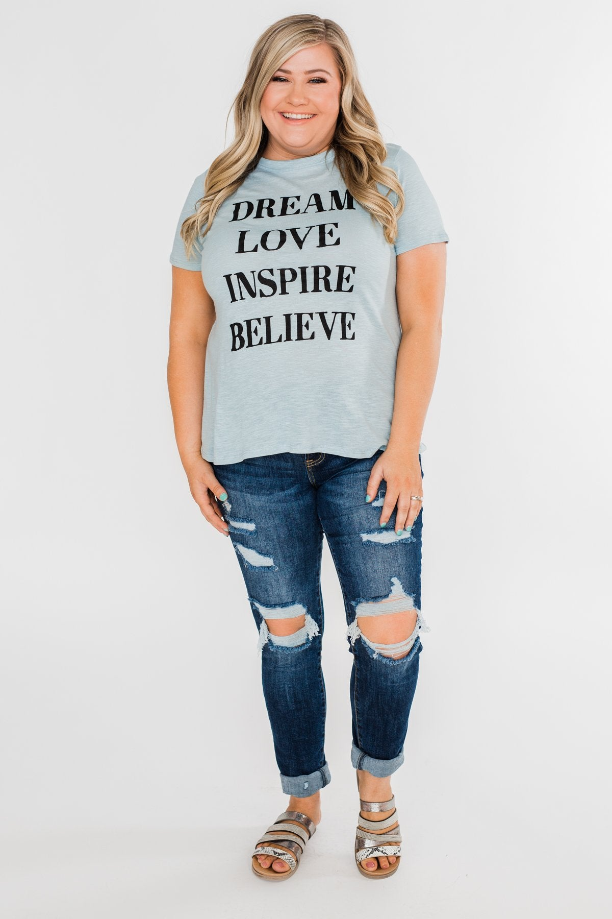 Dream, Love, Inspire, Believe Graphic Tee- Powder Blue