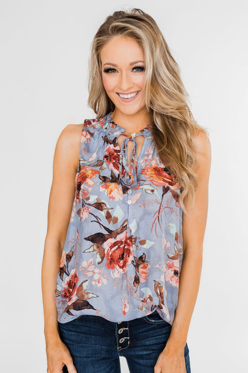 I'll Be There Floral Neck Tie Tank Top- Light Steel Blue