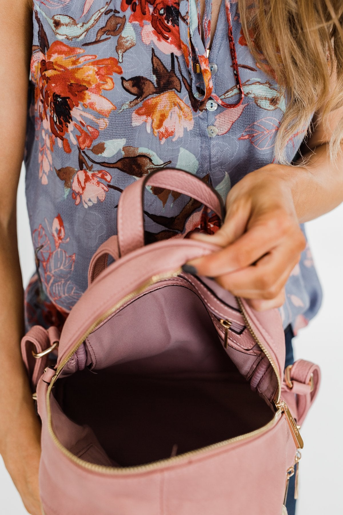 Zipper Detail Backpack- Pink