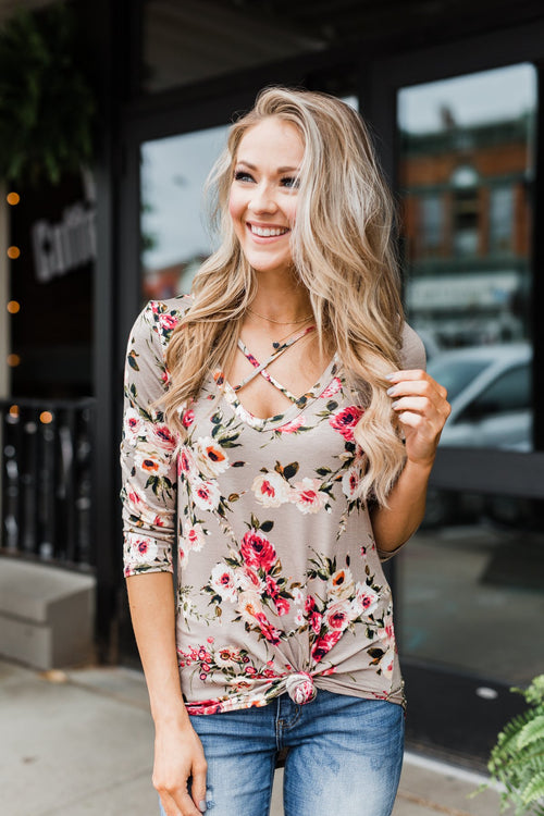 Excellent Selection Floral Criss Cross Top- Taupe