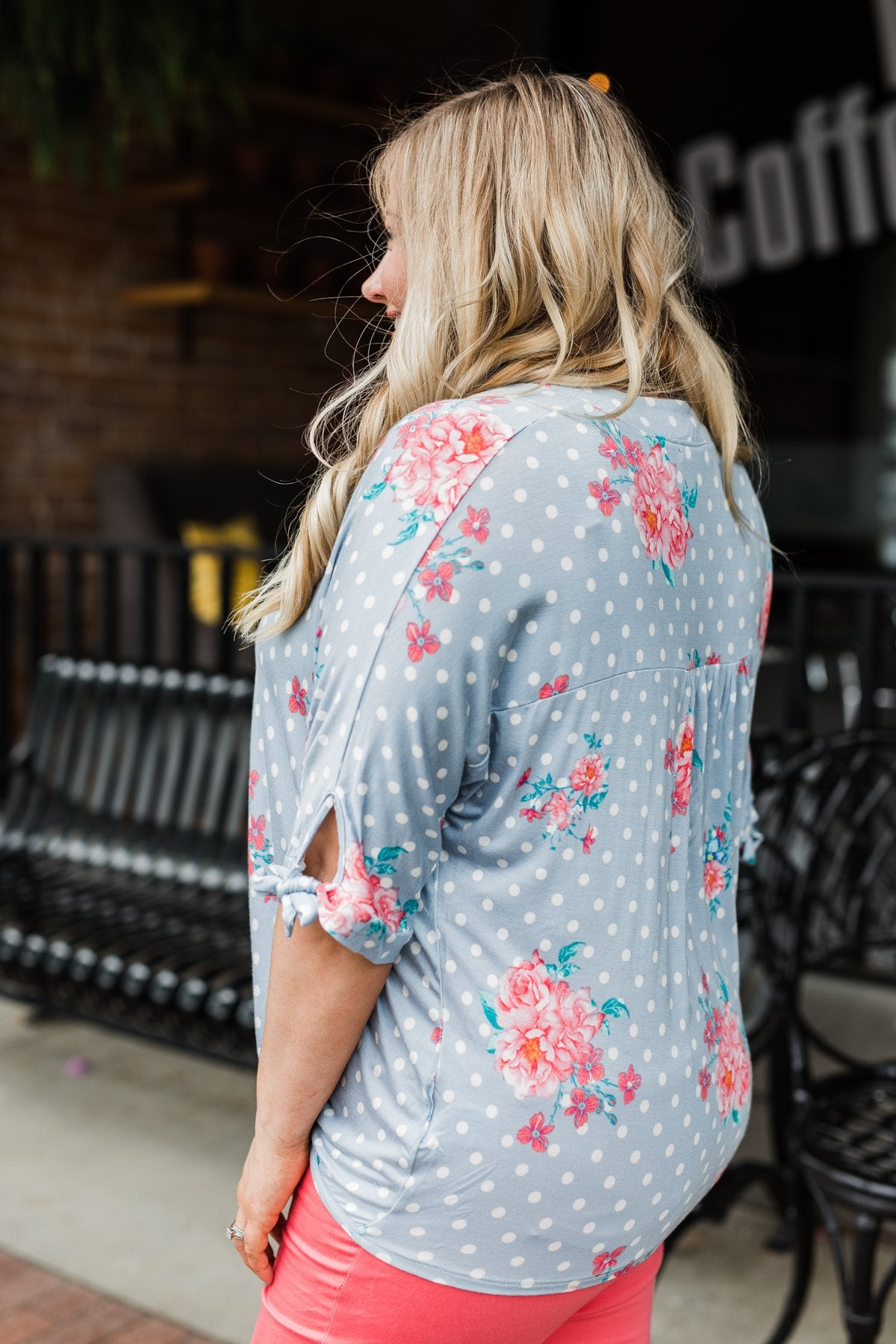 Show You Off Polka Dot & Floral Top- Powder Blue