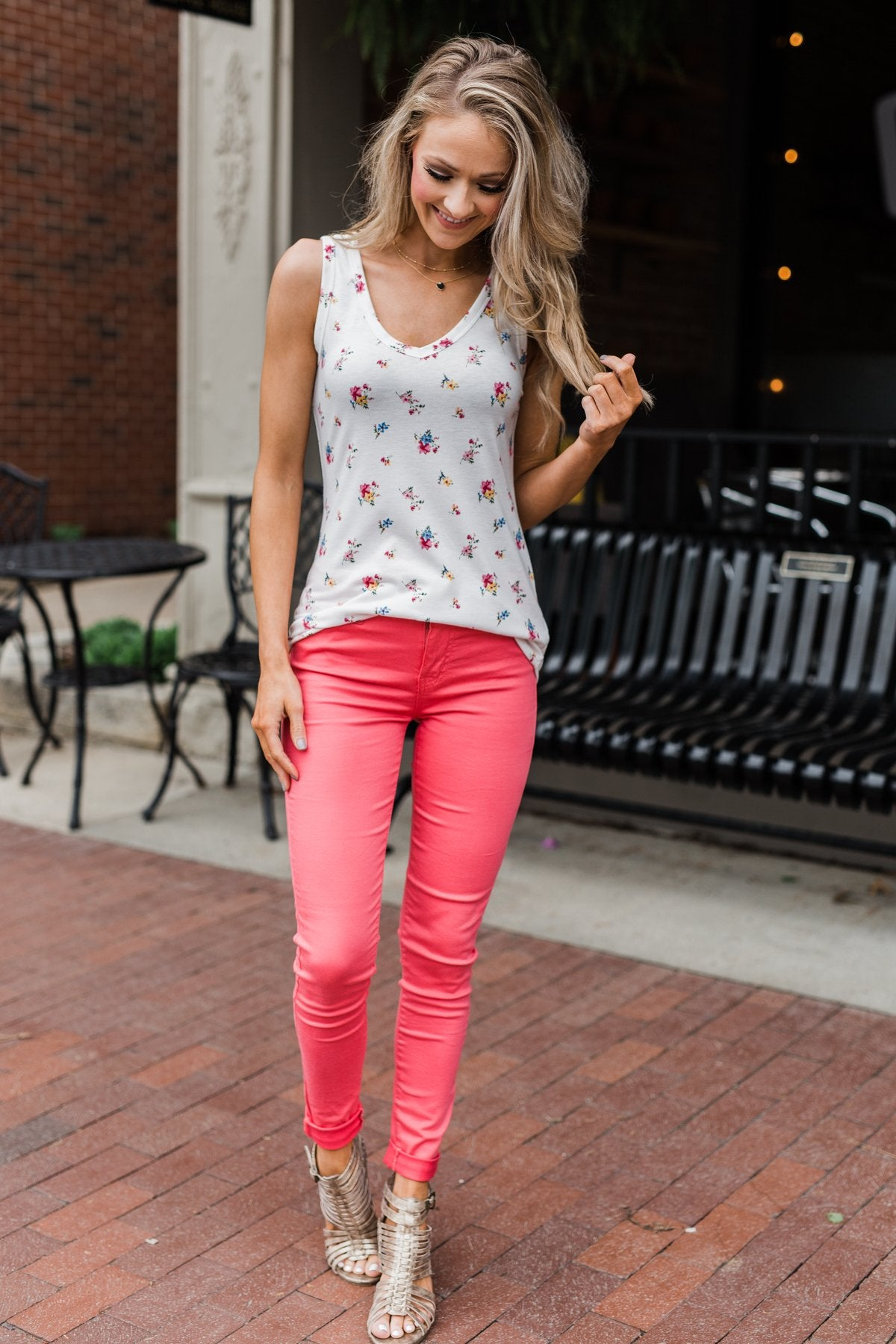 Darling Floral V-Neck Tank Top- Ivory