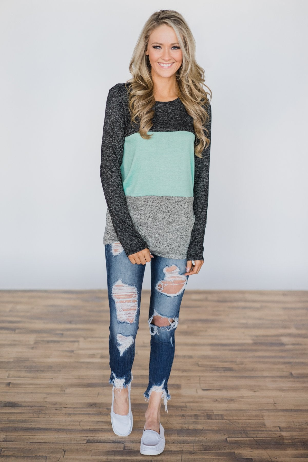 On the Brightside Color Block Top- Mint