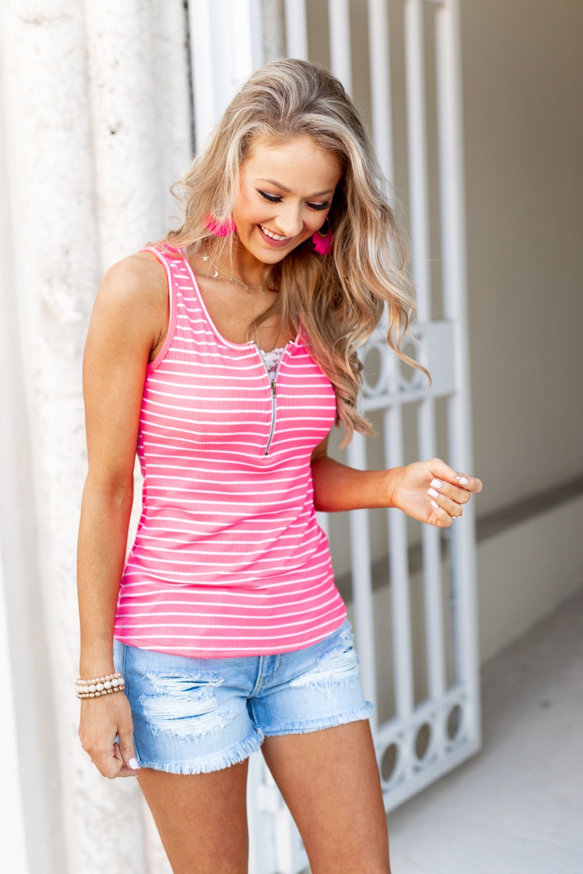 Neon Pink Zipper Tank Top