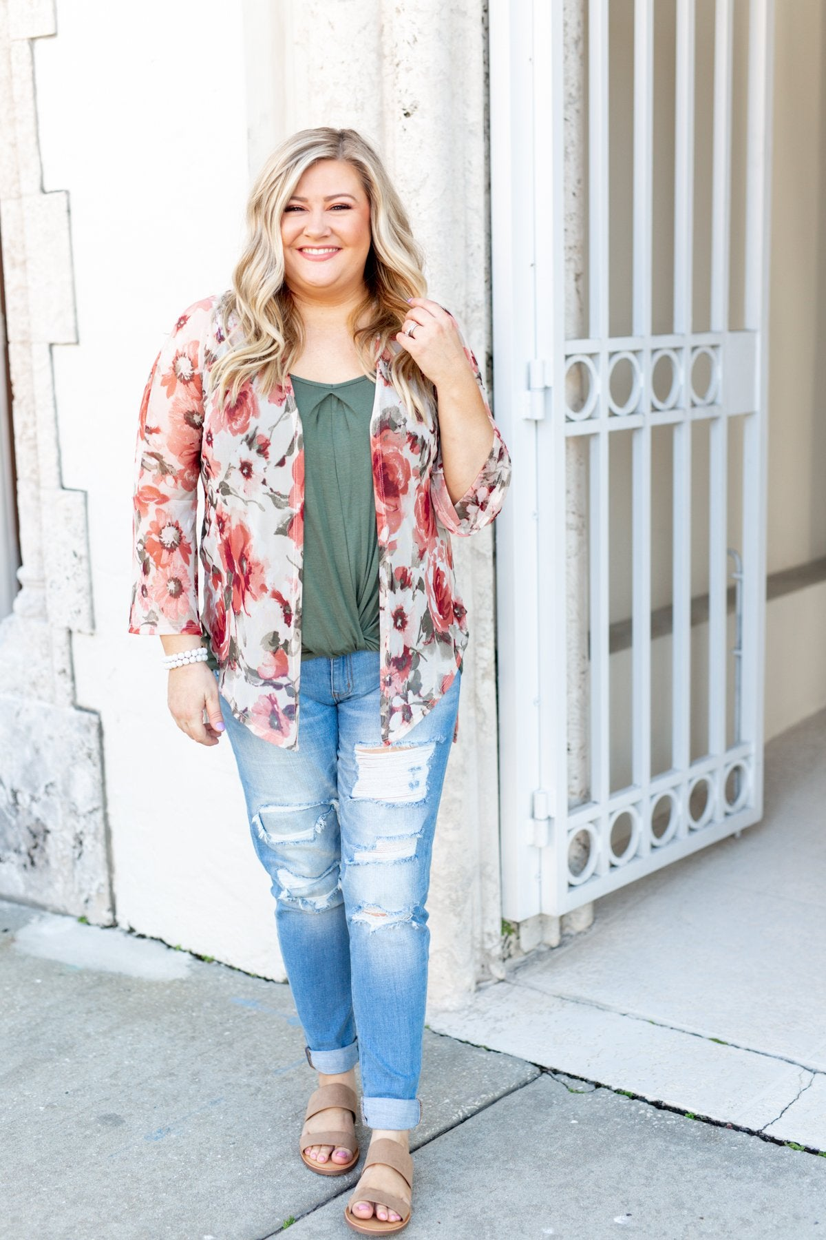 Sing A Little Louder Floral Kimono- Taupe