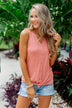 Love Has A Way Striped Tie Tank Top- Dusty Coral
