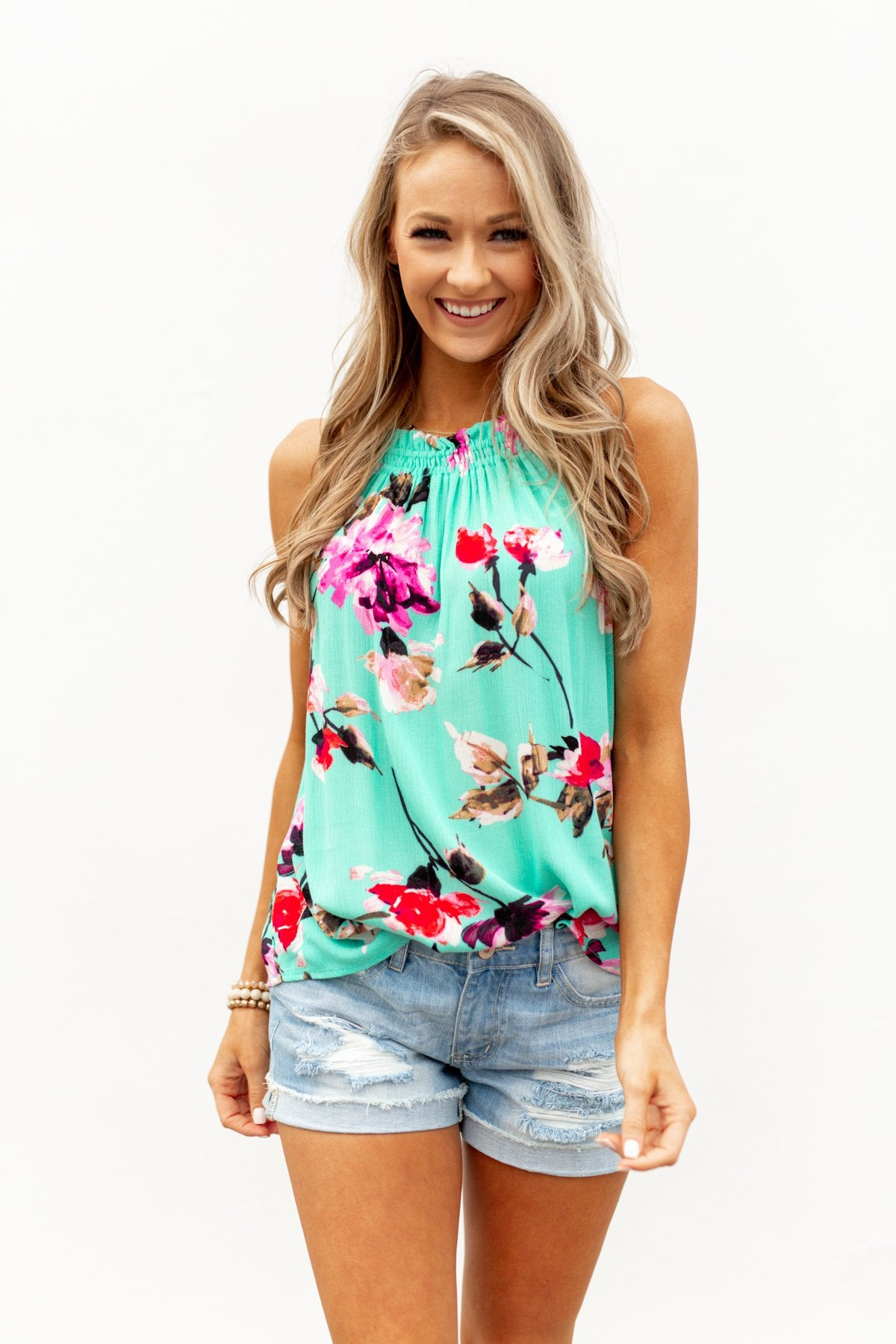 What A Life Floral Tank Top- Mint Blue