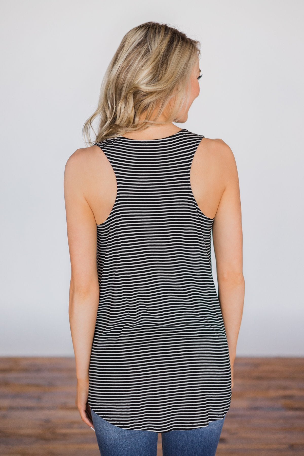 No Better Time Striped Tank Top- Black