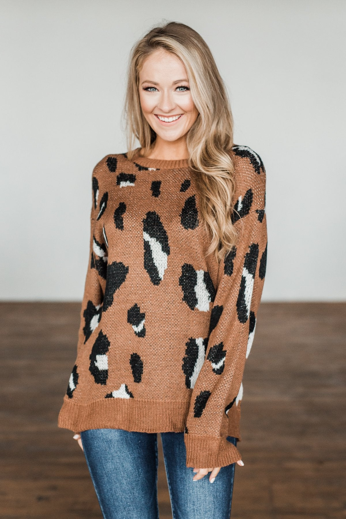 Anywhere We Go Animal Print Sweater- Brown