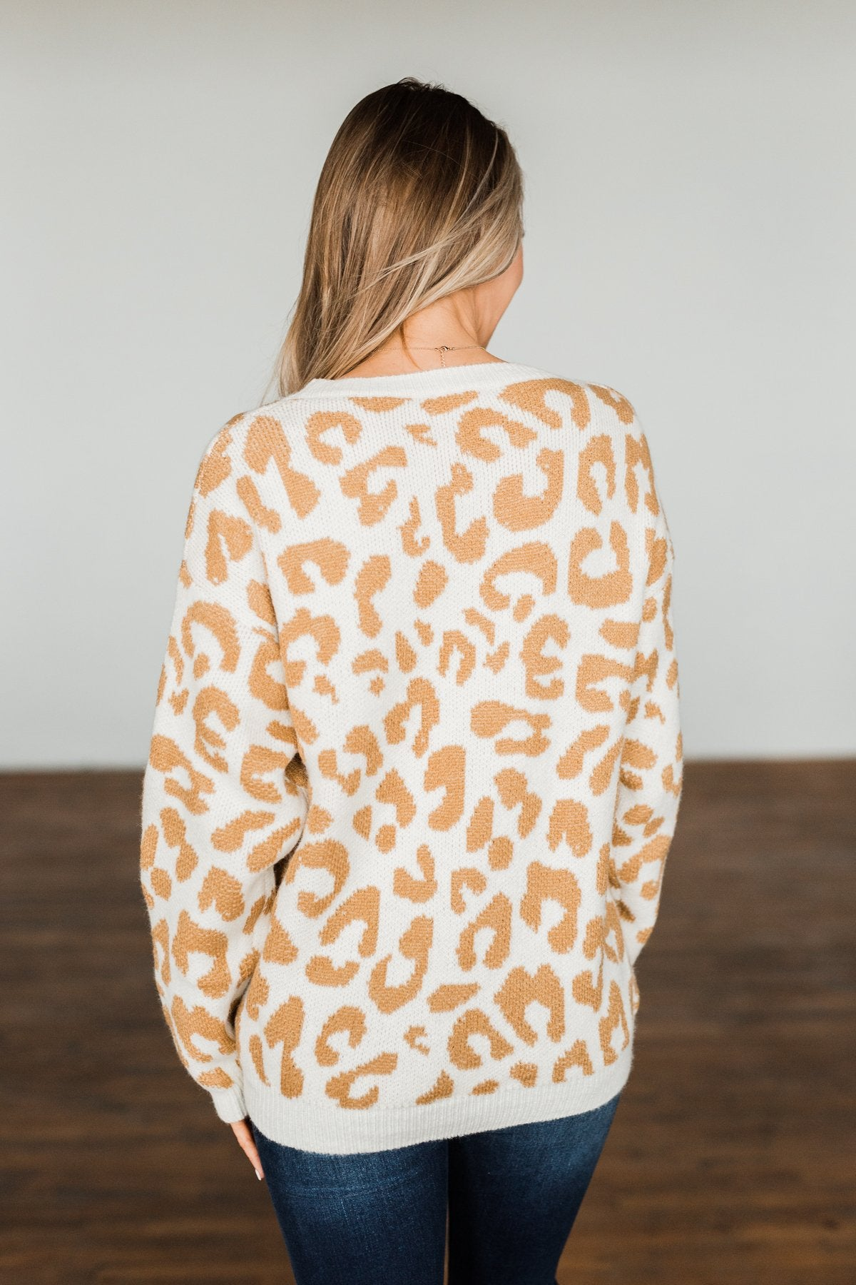 Good For The Soul Leopard Sweater- Ivory & Camel