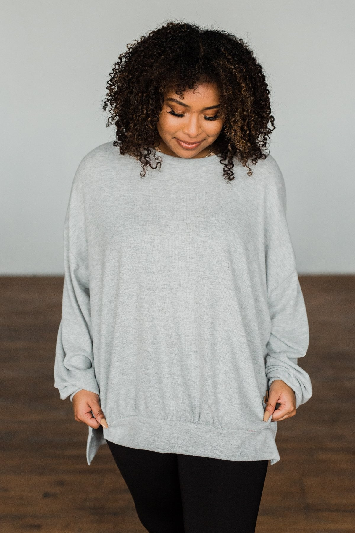 Dreaming Of The Day Oversized Pullover Top- Light Grey