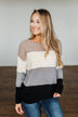 Dear To My Heart Color Block Sweater- Grey, Black, Taupe, Ivory
