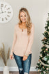 Finally Found You Button Henley Top- Natural