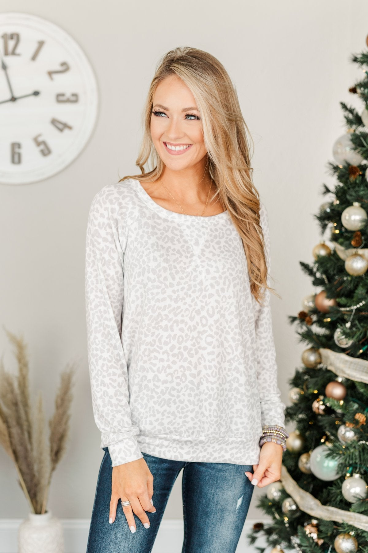 Just Go With It Long Sleeve Leopard Top- Off White & Silver