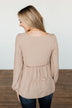 Buttoned Up Beauty Knit Babydoll Top- Natural