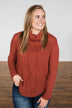 Caught In A Daydream Turtle Neck Sweater- Brick