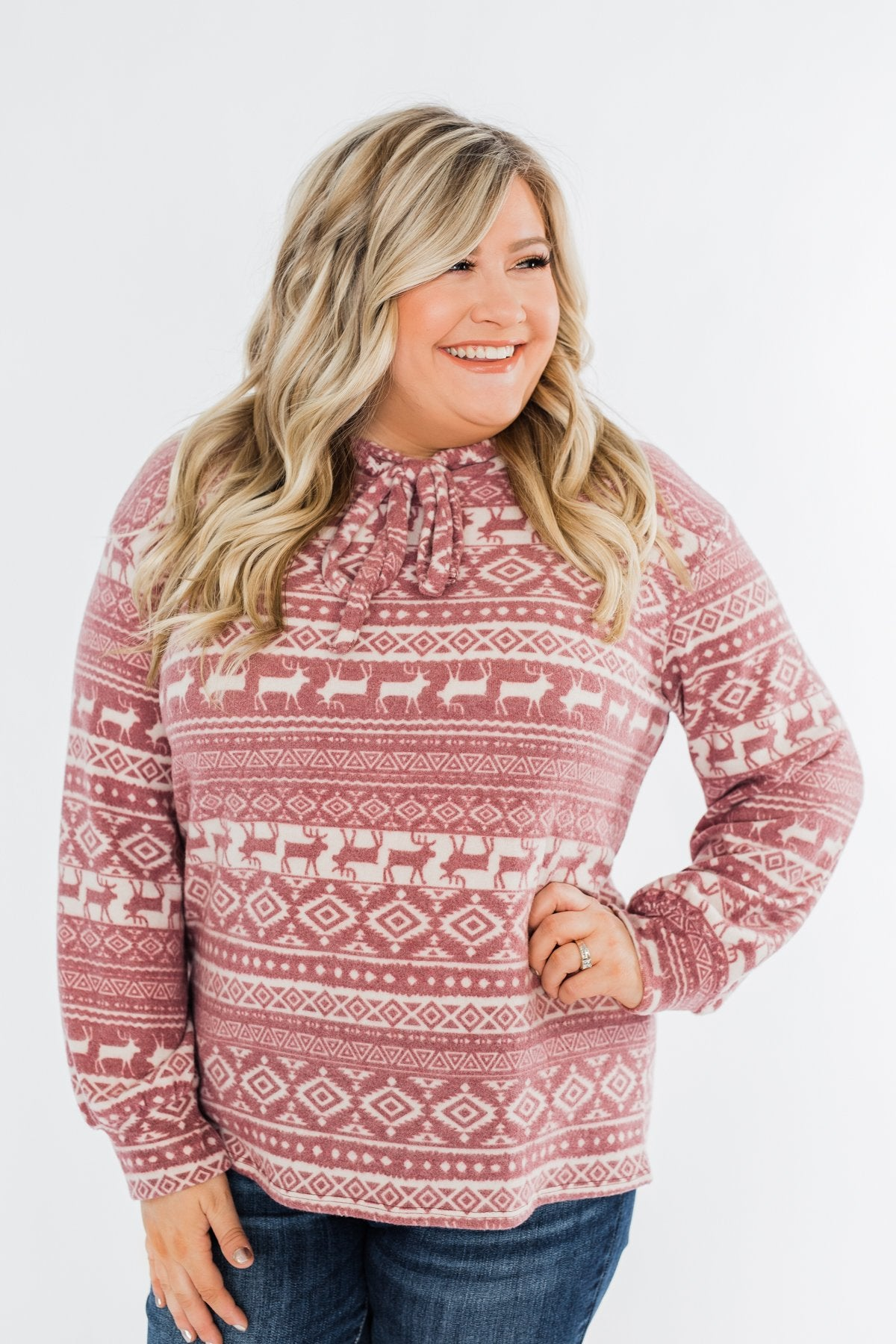 All The Reindeer Hoodie- Dusty Mauve