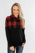 Keep On Loving Color Block Hoodie- Black & Buffalo Plaid