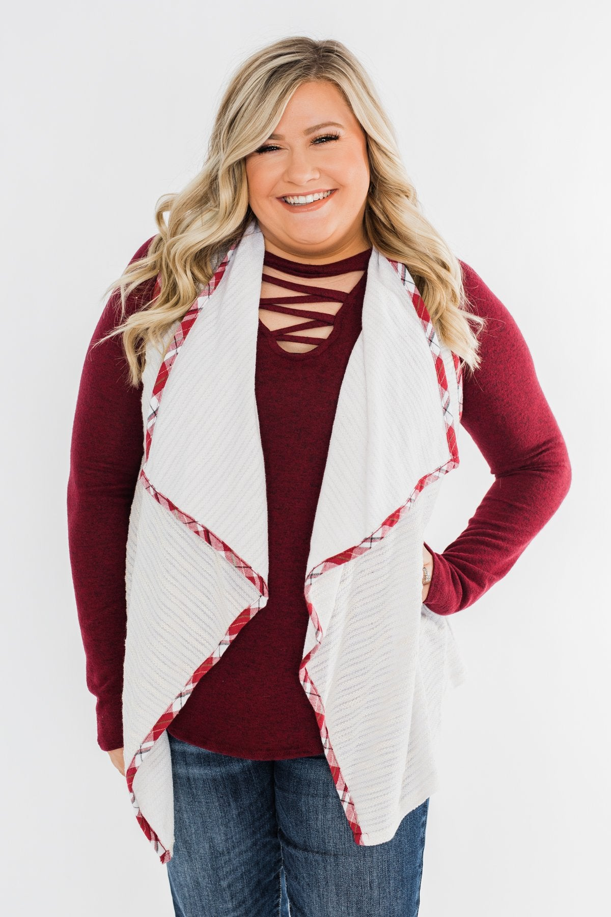 Let's Be Jolly Drape Vest- Ivory