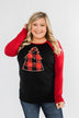 Around The Christmas Tree Graphic Top- Black & Holiday Red