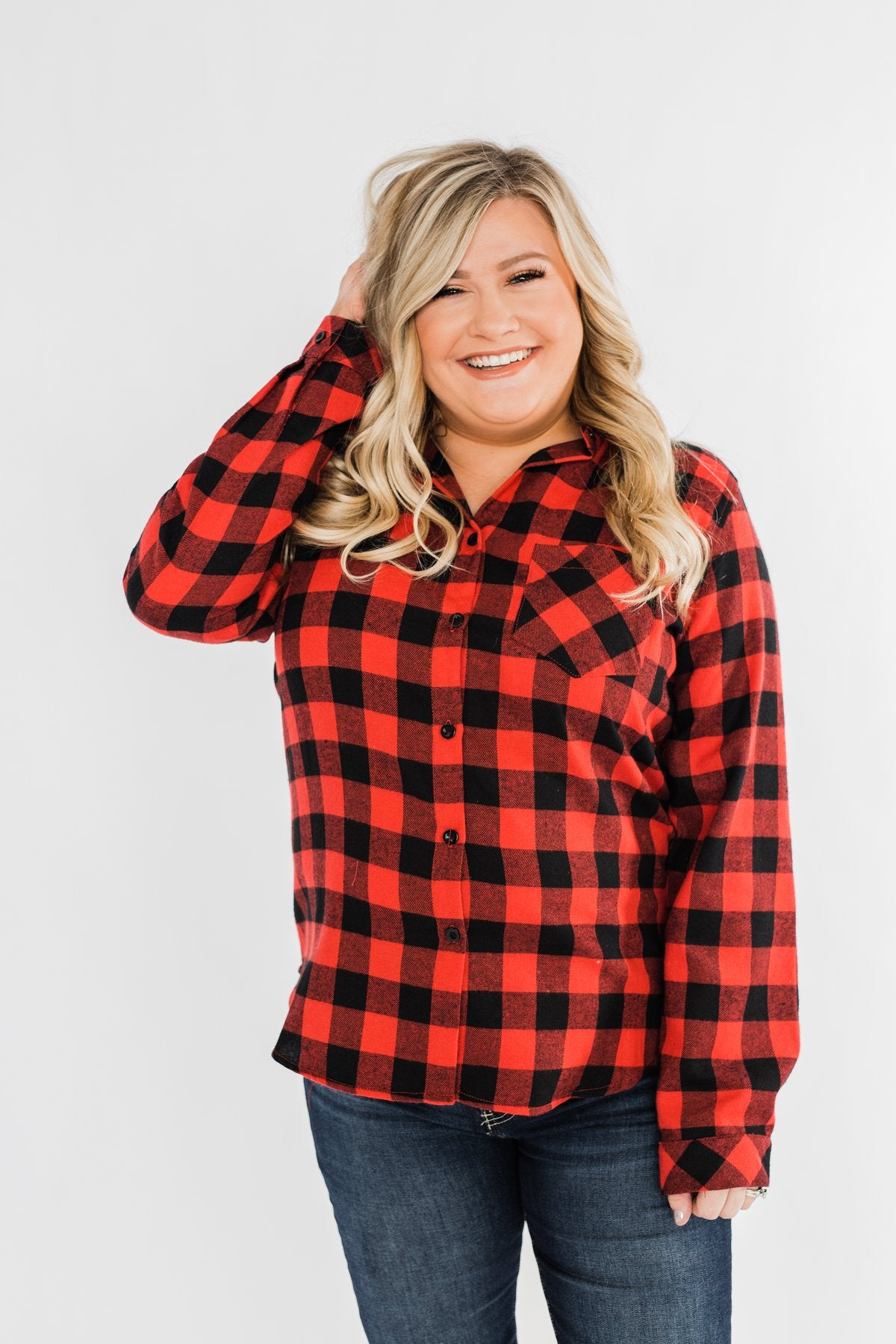 On An Adventure Plaid Top- Buffalo Plaid