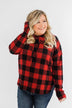Brand New Day Drawstring Hoodie- Buffalo Plaid