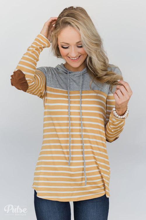 Lightweight Striped Hooded Top- Honey Yellow