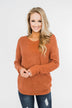 Xoxo Open Back Twist Sweater- Rust