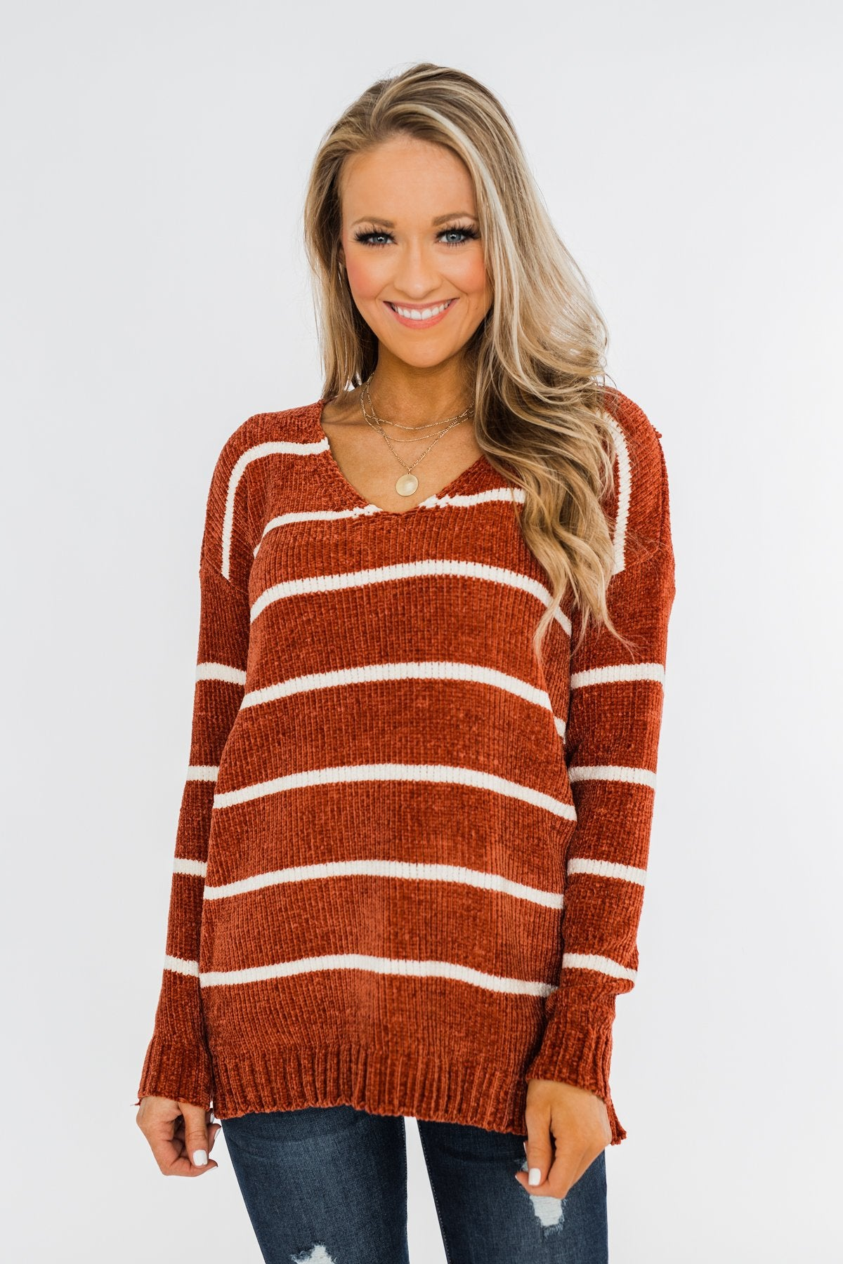Faithfully Yours Striped Knit Sweater- Copper & Ivory