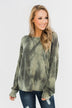 Light Up Your Life Tie Dye Top- Olive