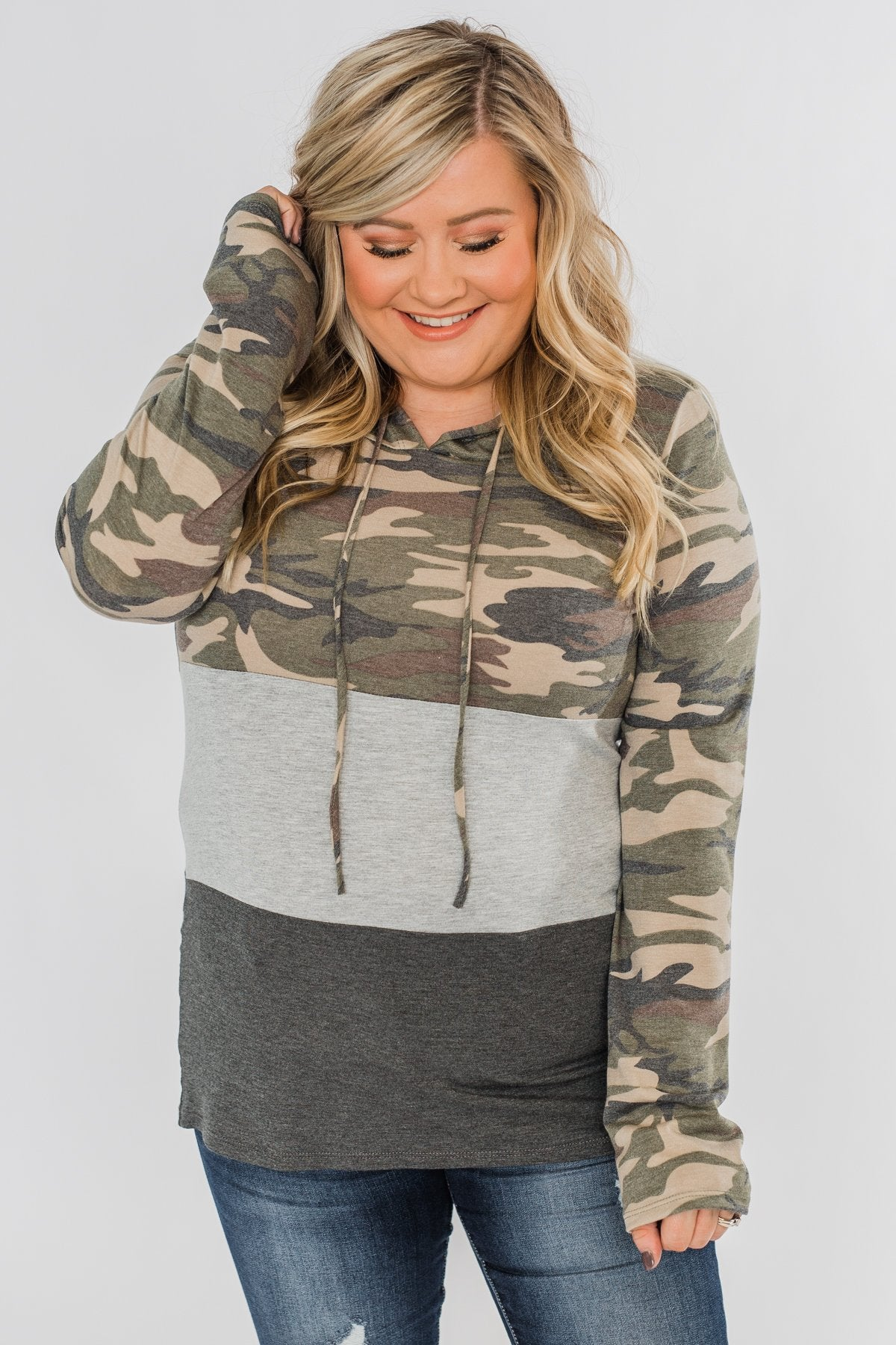 Cloaked In Camo Color Block Hoodie- Grey & Charcoal