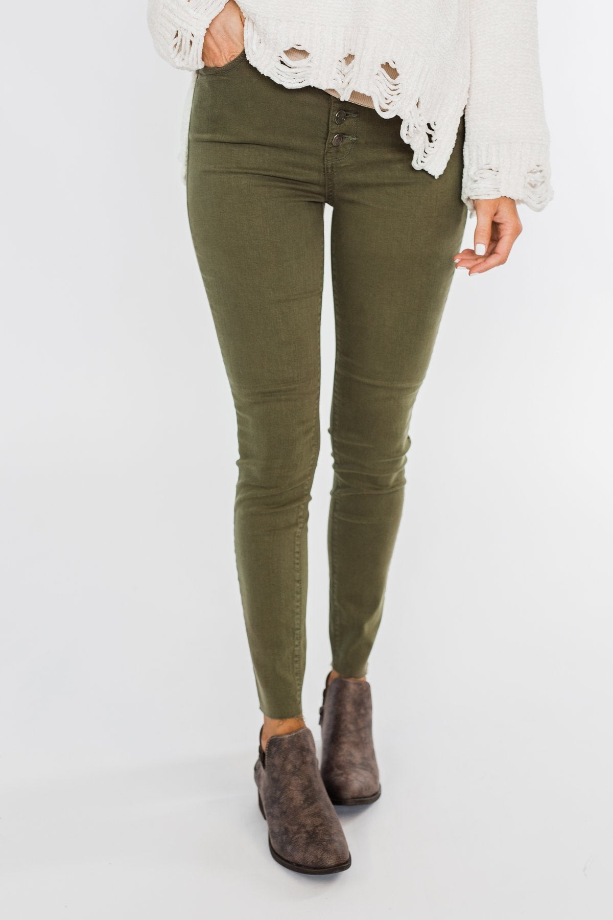 Cello Button Fly Skinny Jeans- Olive