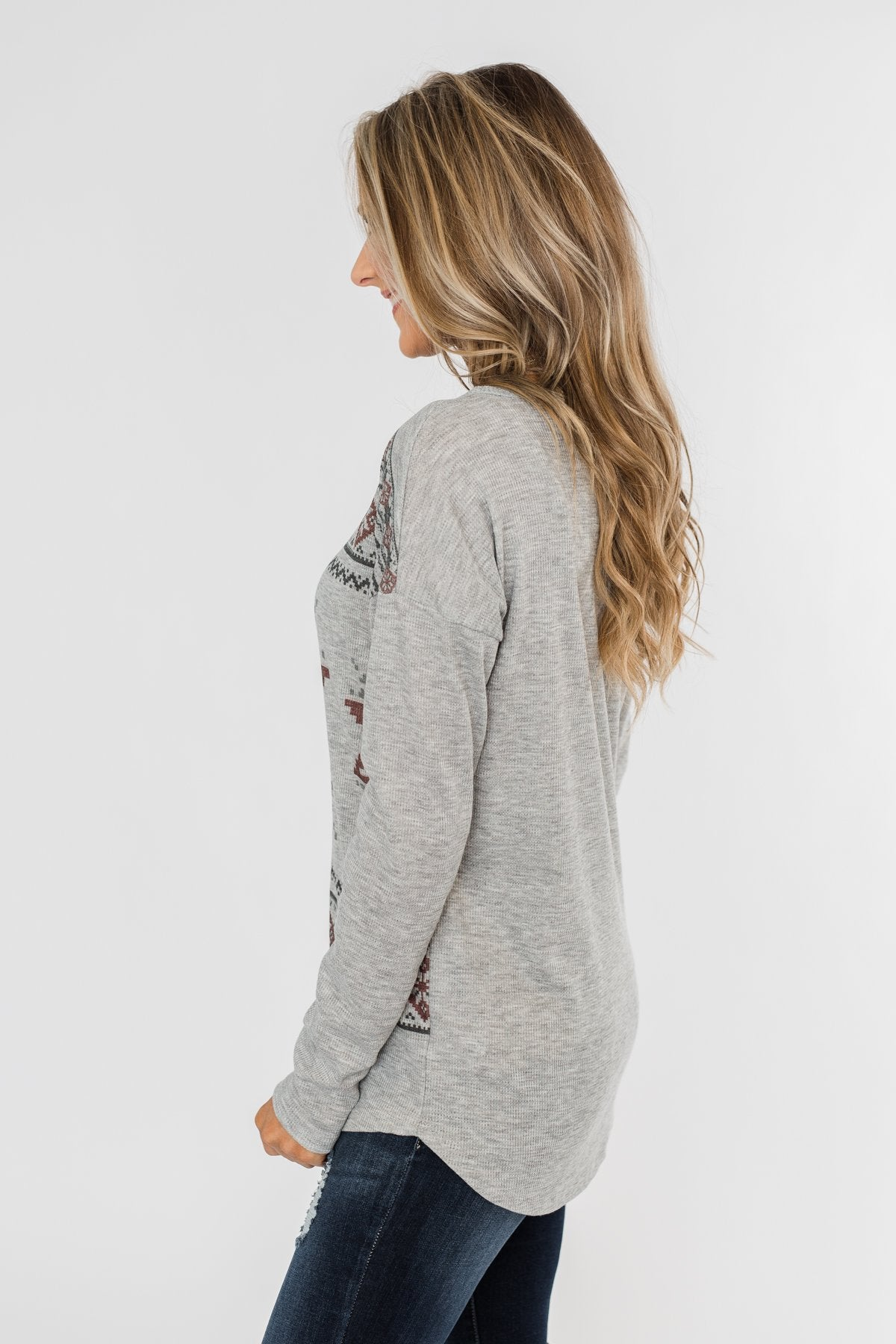 Winter Wonderland Thermal Top- Grey