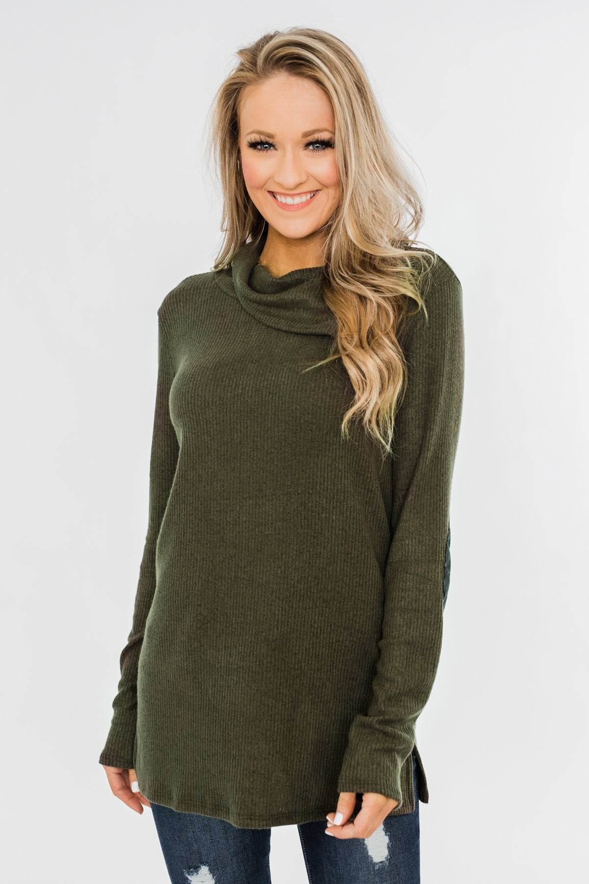Moments Like This Knit Button Top- Dark Olive