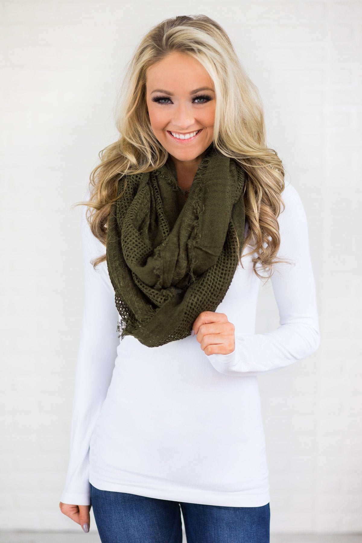Lightweight Olive Infinity Scarf