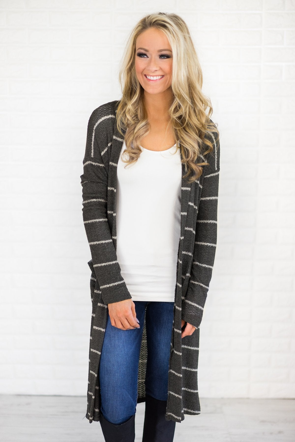 Striped Open Front Cardigan Duster: This knee-grazing duster cardigan boasts a chic striped pattern and offers incredible softness. Long sleeve style serves as .