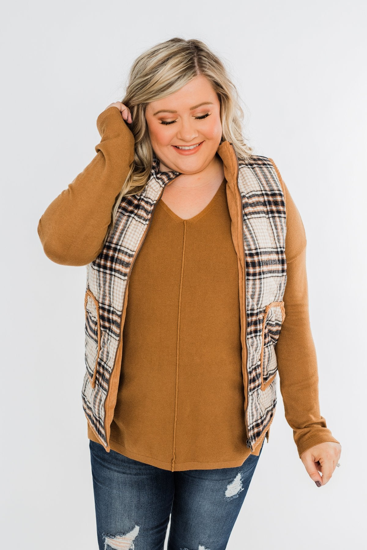 Quilted Plaid Puffer Vest- Camel & Navy