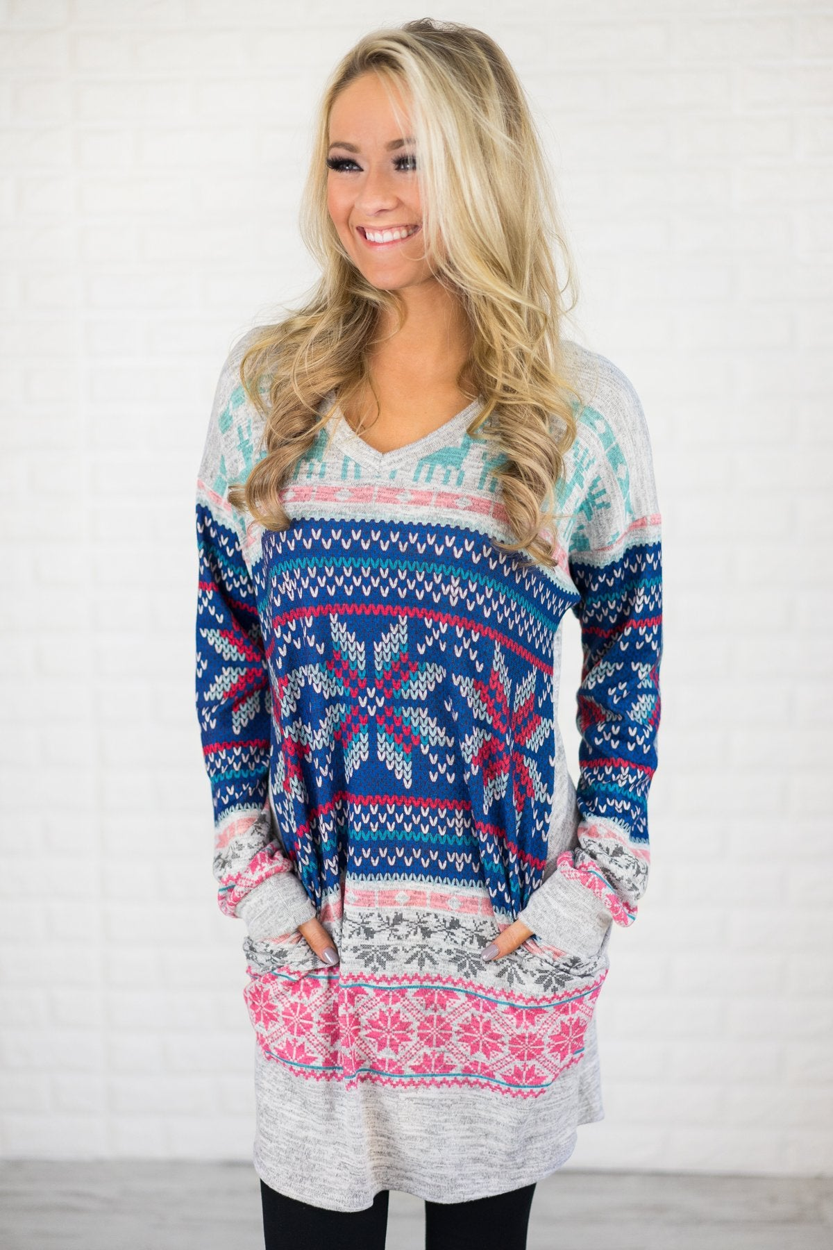 Cheerful in Pink & Blue Tunic Top