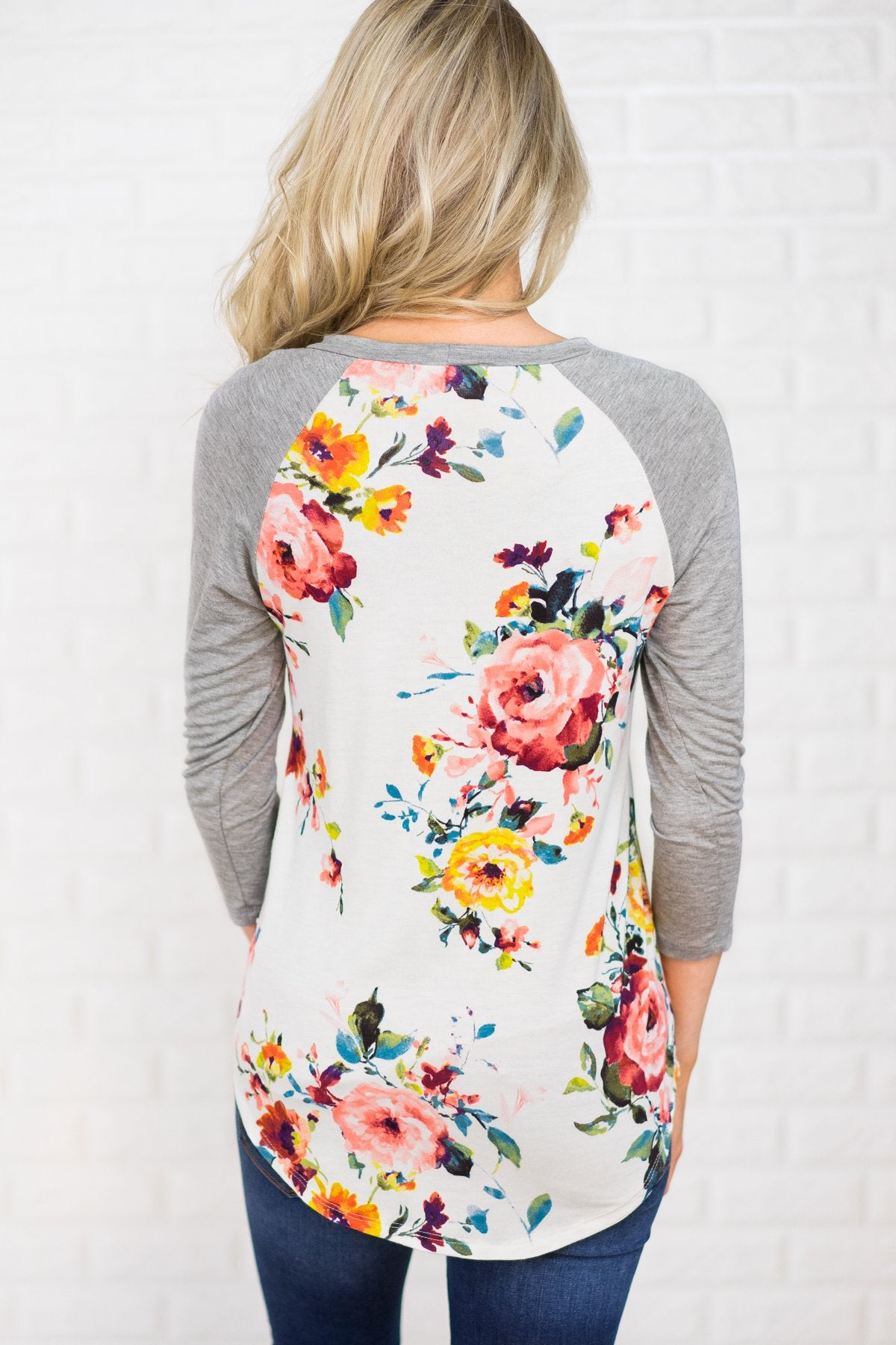 Dreams of You Floral Baseball Top - Grey