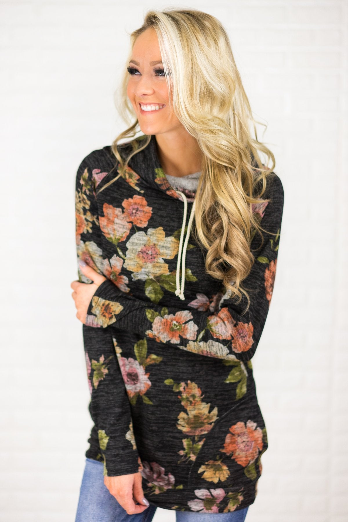 Floral Cowl Neck Tunic Top ~ Charcoal