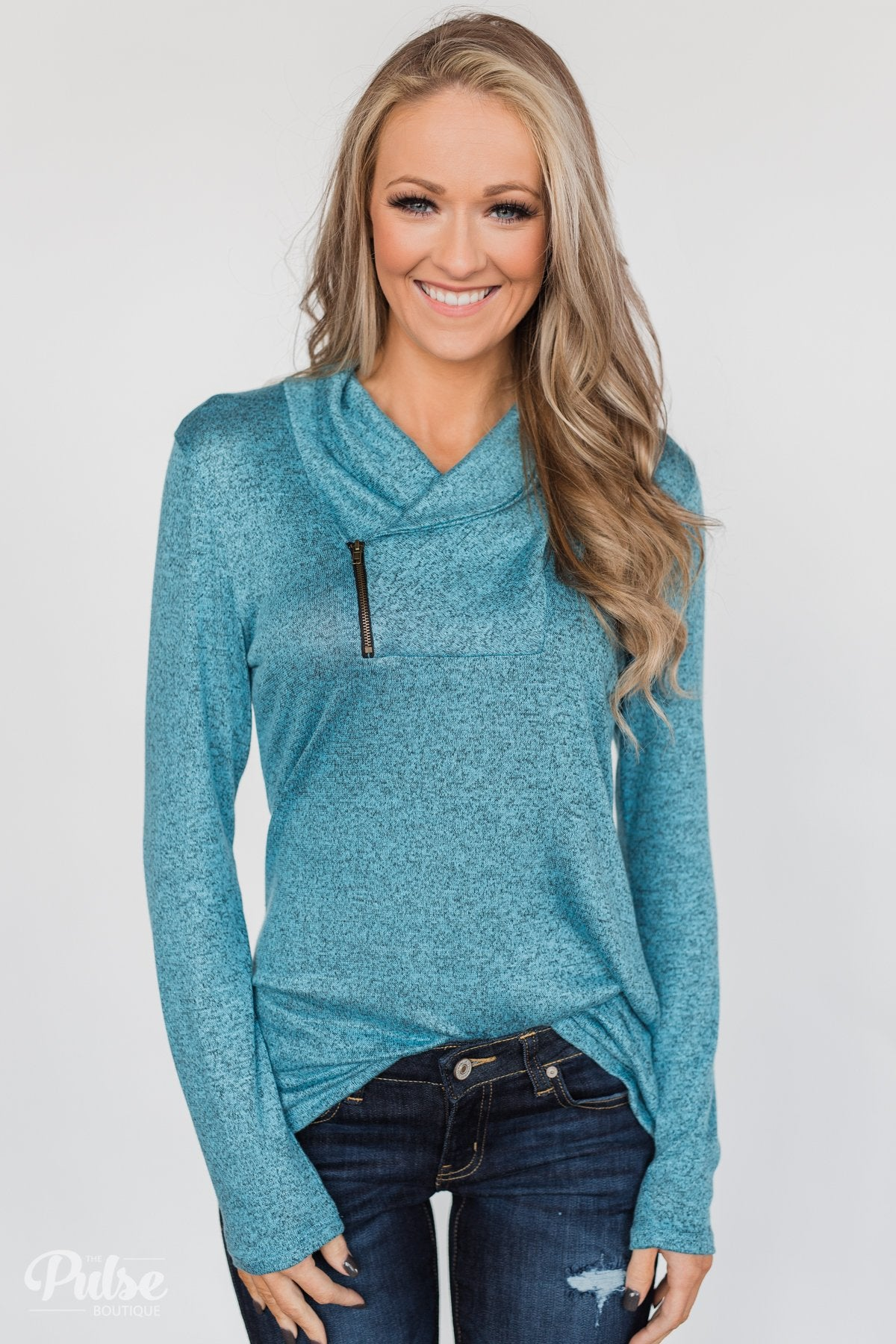 All This Time Zipper Pullover Top- Blue