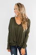 In Your Arms Thermal Twist Top- Olive