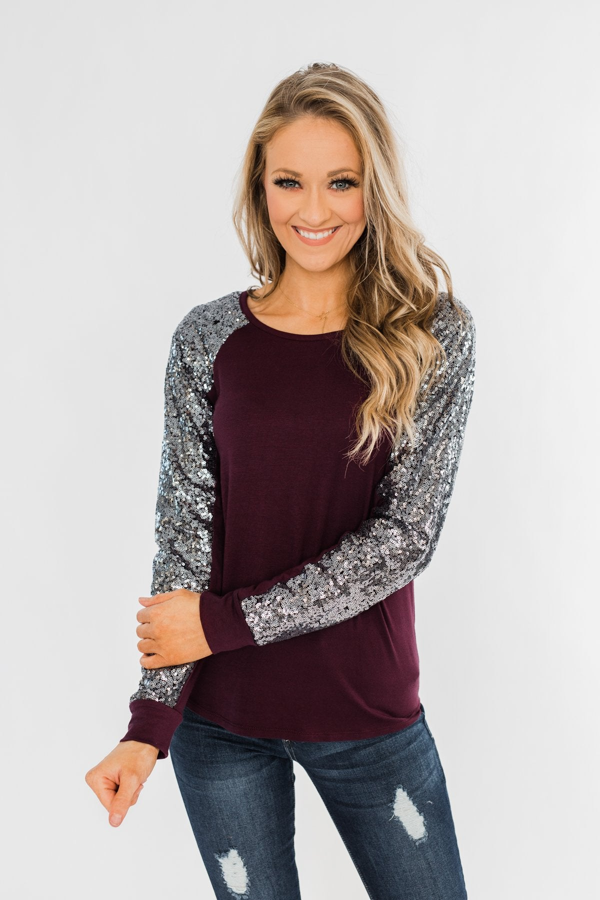 Caught My Eye Sequin Top- Plum