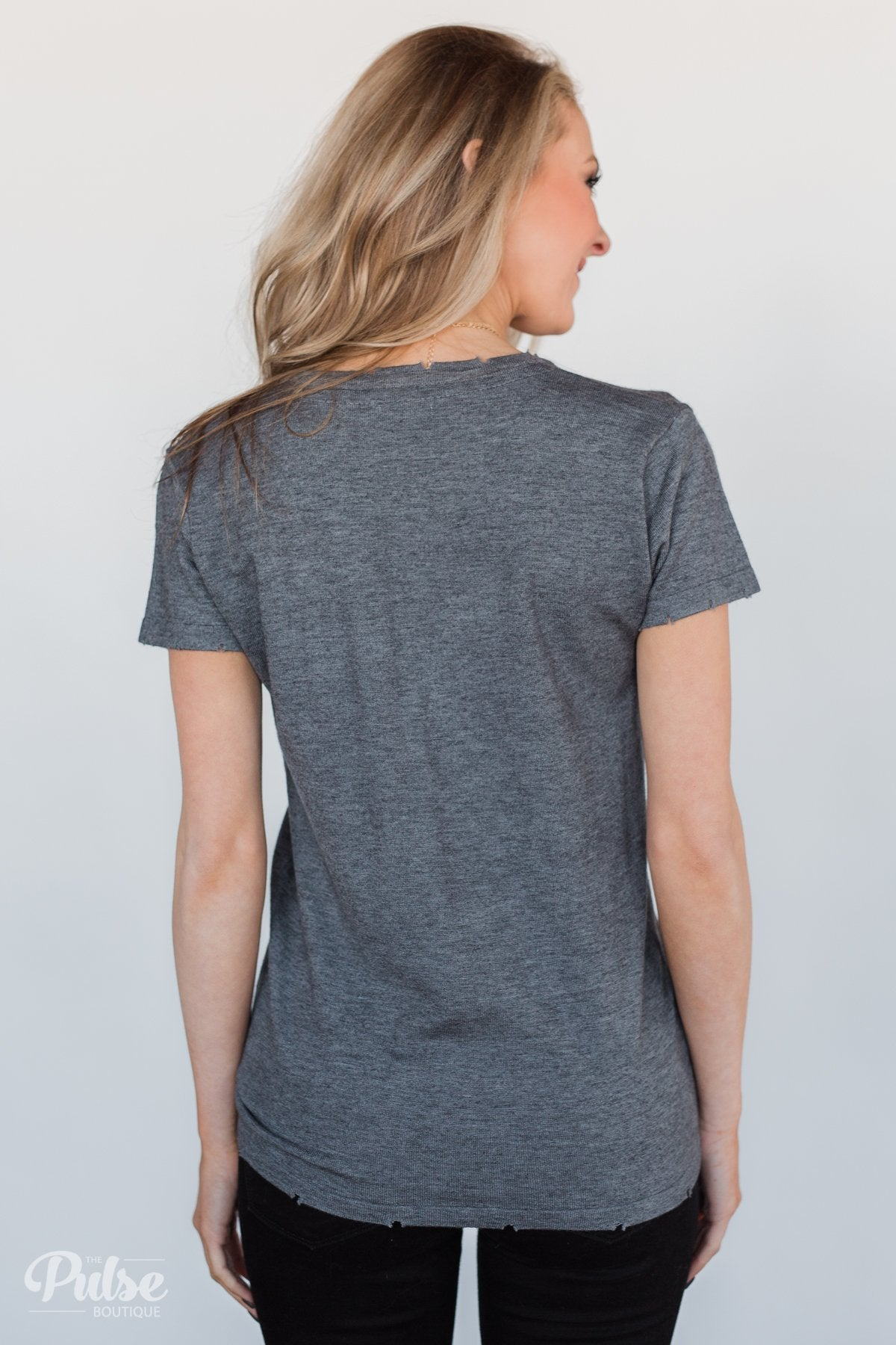 Eyes On You Distressed Short Sleeve Top- Charcoal