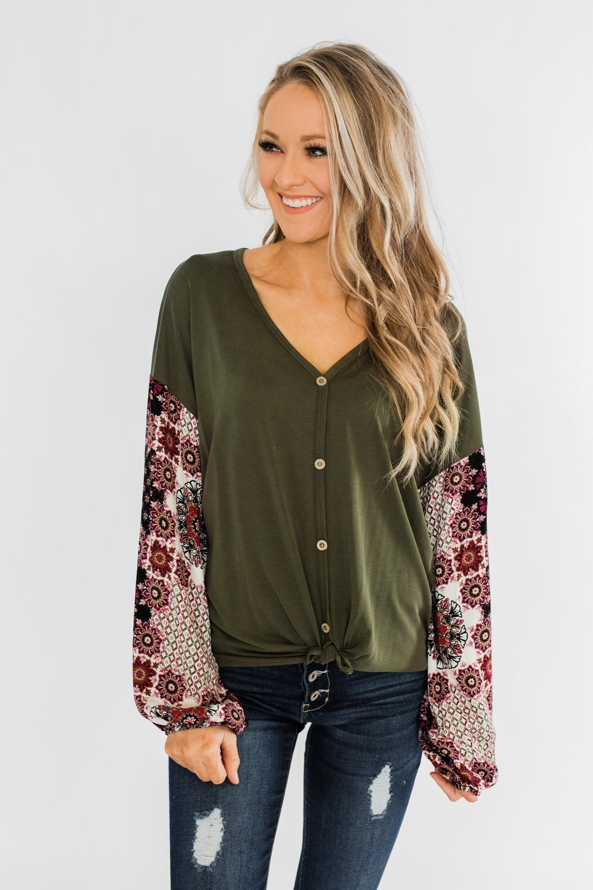 Stay Beautiful Floral Button Top- Olive