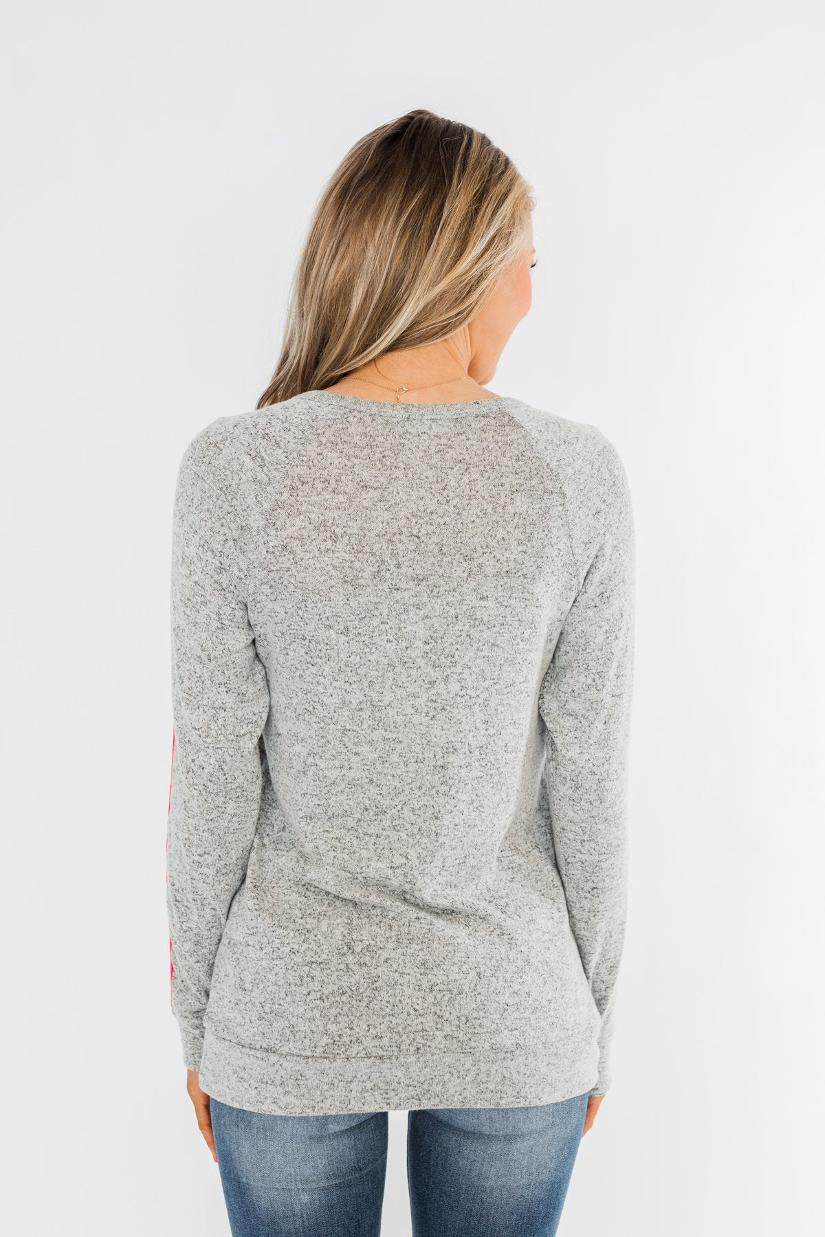 Pep In My Step Stripe Pullover Top- Heather Grey