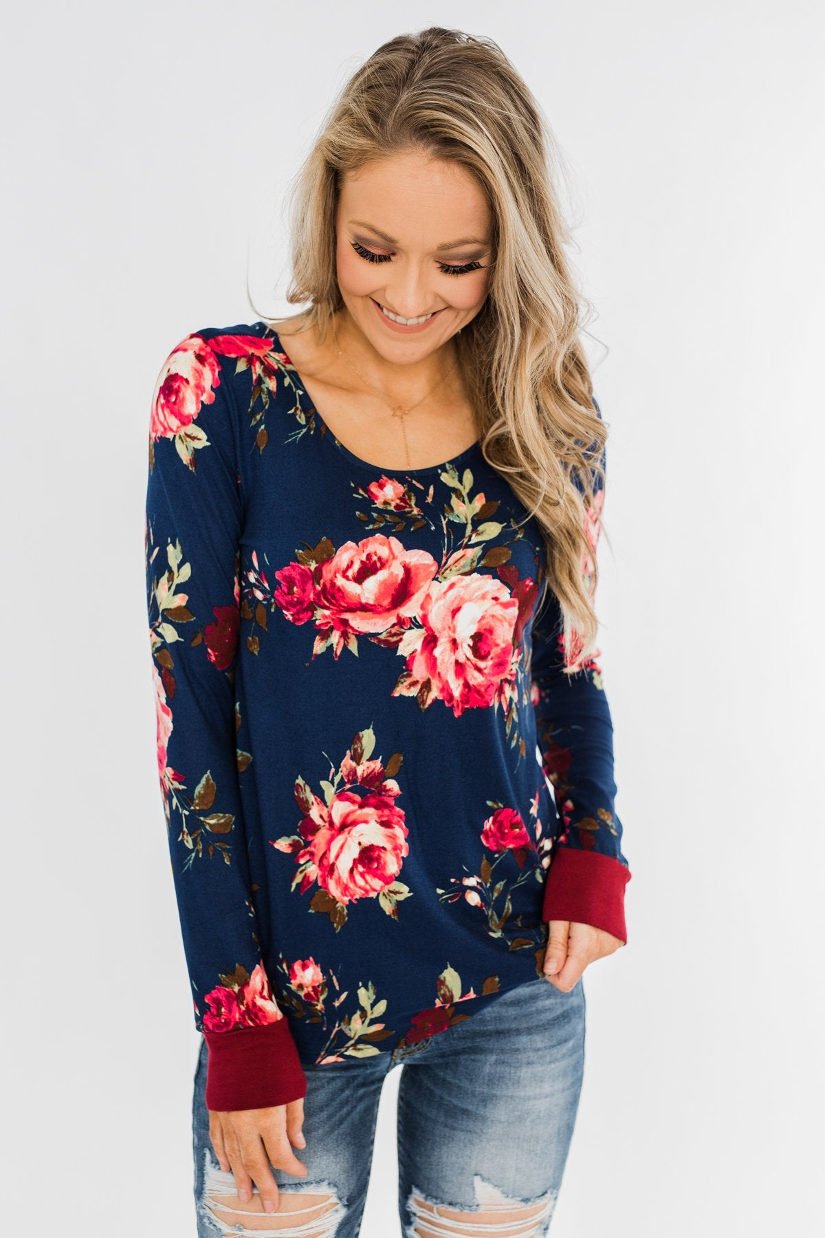 Field Of Flowers Criss Cross Top- Navy & Burgundy