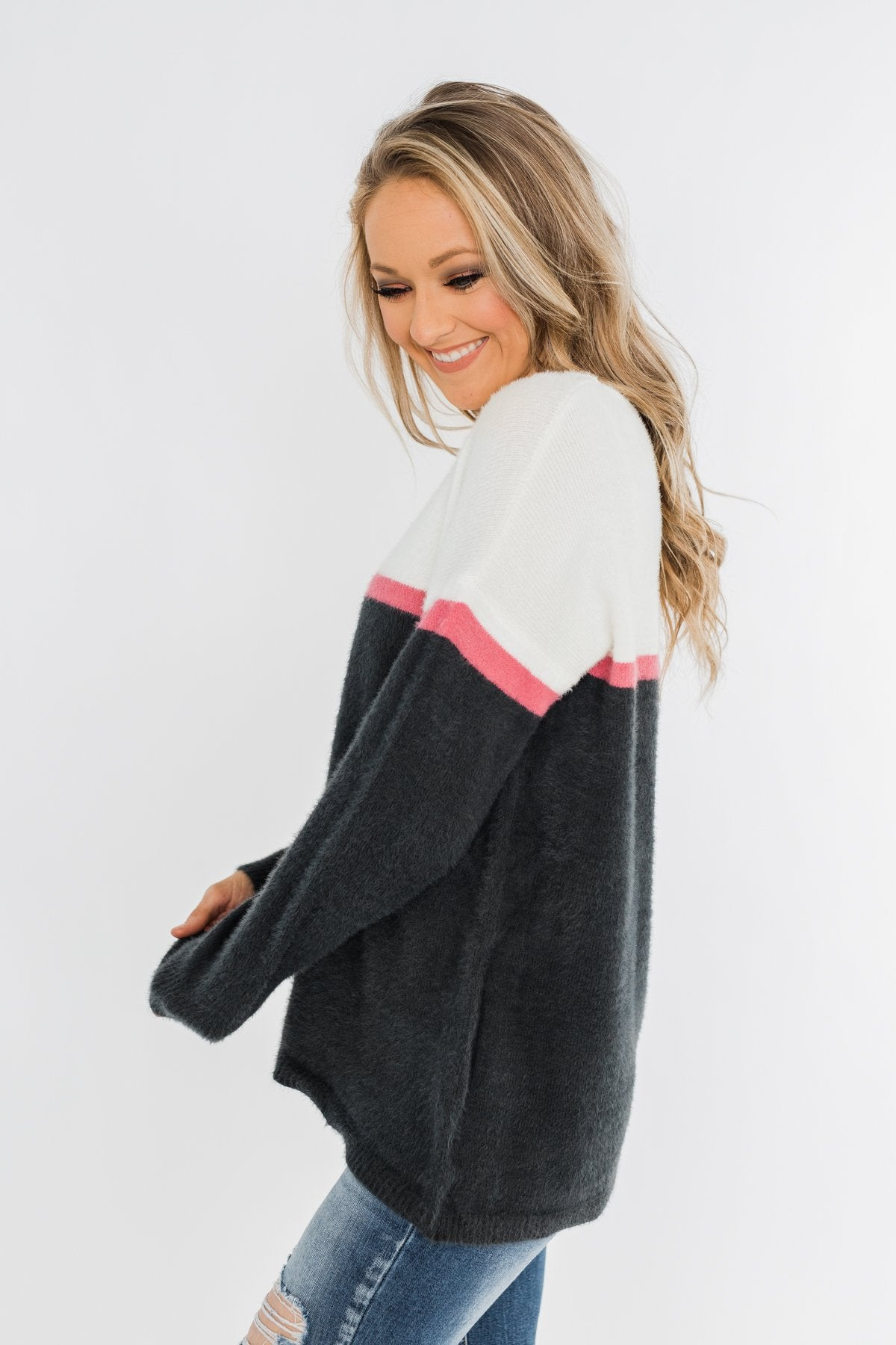 Wishing For You Color Block Sweater- Ivory & Charcoal