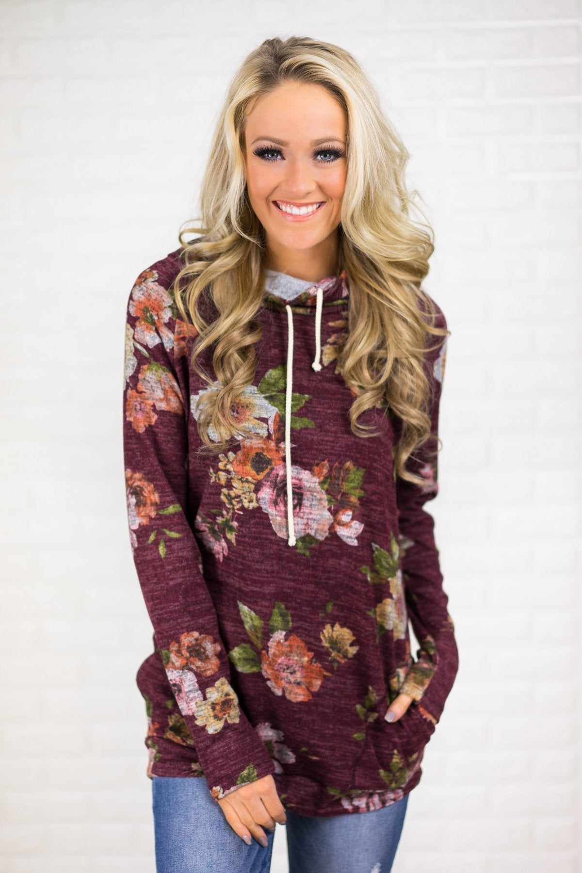 Floral Cowl Neck Tunic Top ~ Eggplant